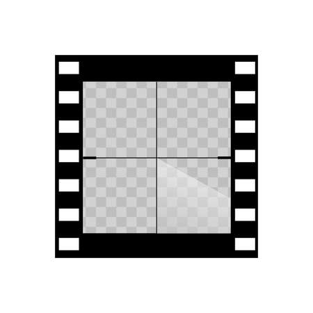 Old transparent film movie countdown frame. Vector. Vectores