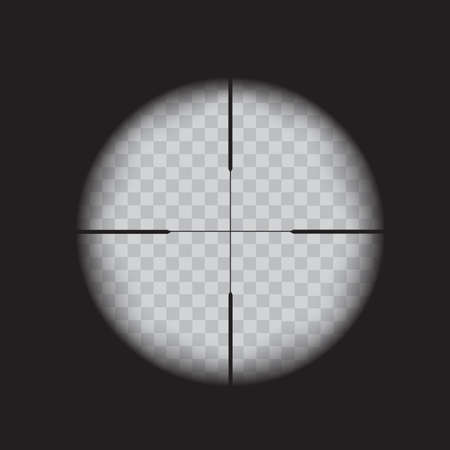 Sniper scope crosshairs view. Realistic optical sight on transparent. Vector.
