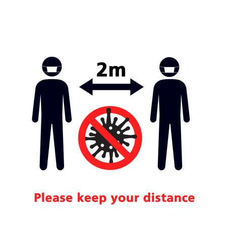 Social Distancing and Self Quarantine. Vector sign