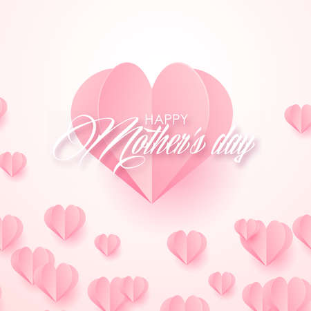 Happy Mother's Day card with flying paper pink hearts. Vector illustration