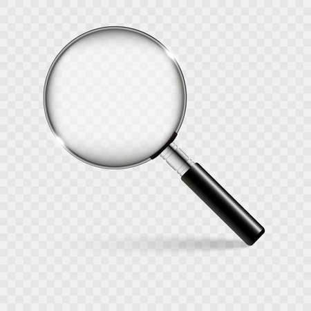 Realistic magnifying glass with shadow on a transparent background. Vector