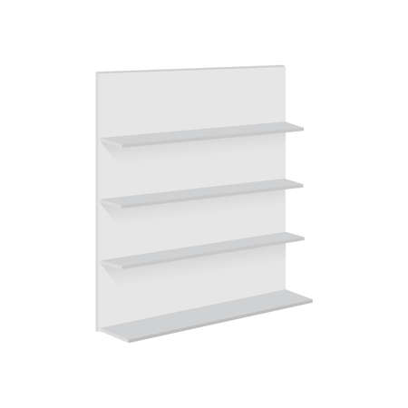 Blank empty showcase display with retail shelves. Vector mock up.