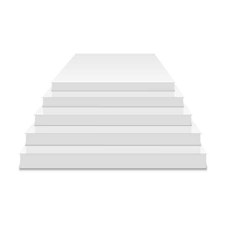 White podium. Square 3d empty podium with steps. Vector.
