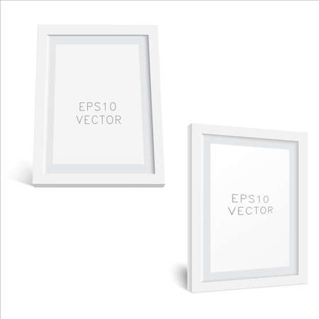 Realistic white wooden photo frame with soft shadow. White Square Photo Frame Mockup, Vector.