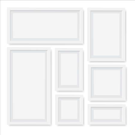 Set of empty white picture frames. Vector Vectores