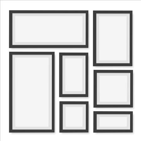 Set of empty black picture frames. Vector Vectores