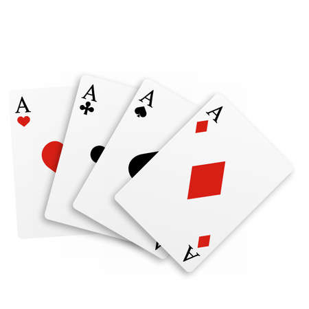 Set of four of a kind aces playing cards. Realistic vector.