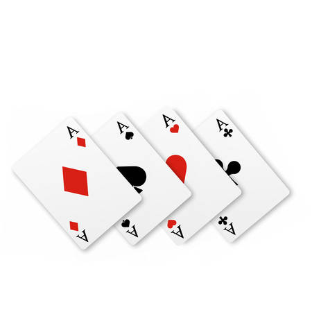 Set of four of a kind aces playing cards. Realistic vector Stockfoto - 149670900
