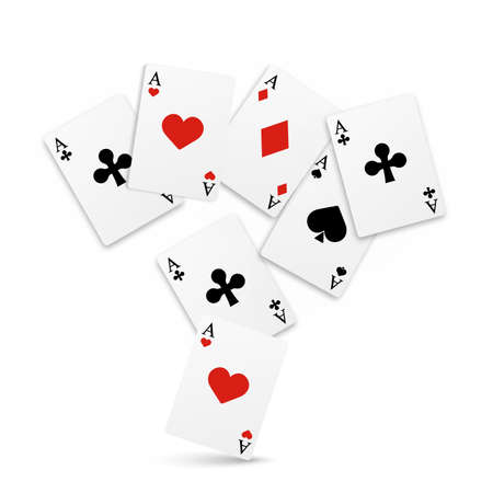 Set of four of a kind aces playing cards. Realistic vector Stockfoto - 148689961