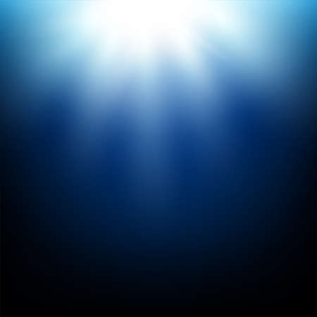 Shining sun in a deep blue sea underwater with bubbles.  illustration