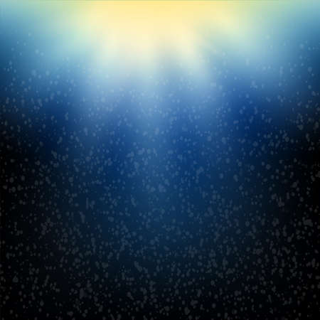 Shining sun in a deep blue sea underwater with bubbles. Vector illustration