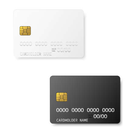 Credit plastic card with emv chip. Mock up. Vector. Stockfoto - 149363357