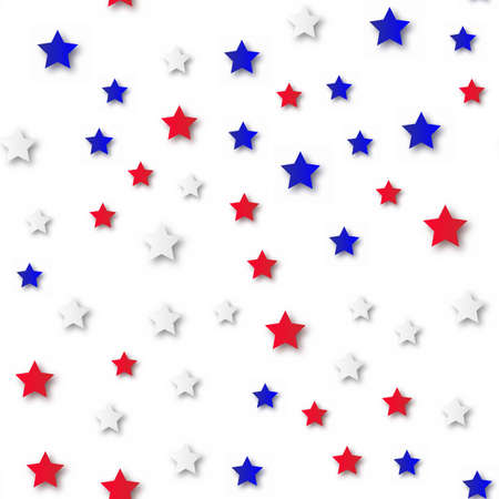 4th of July festive seamless background with colorful stars. Vector.