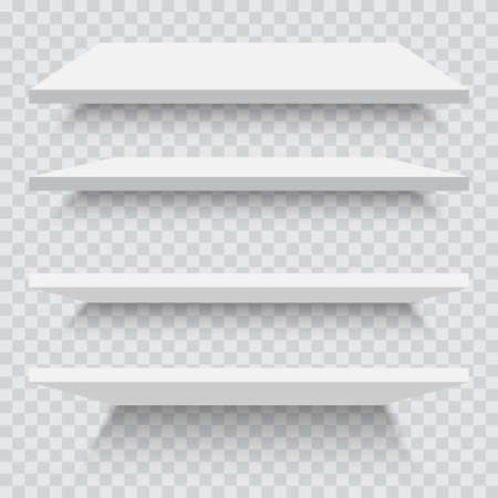Empty white shelves isolated against a wall. Stock Illustratie
