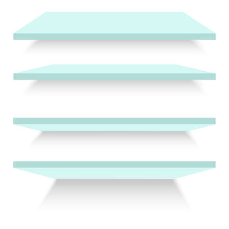 Empty glass shelves isolated against a wall. Vector illustration