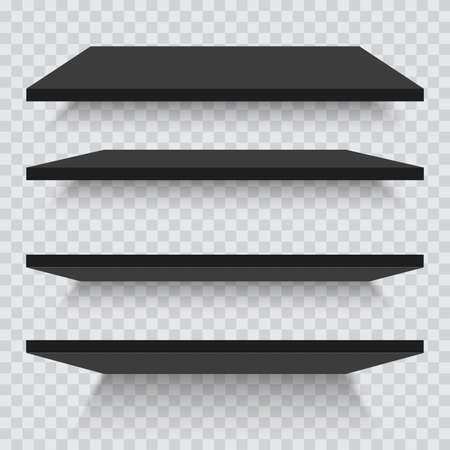 Empty black shelves isolated against a wall.
