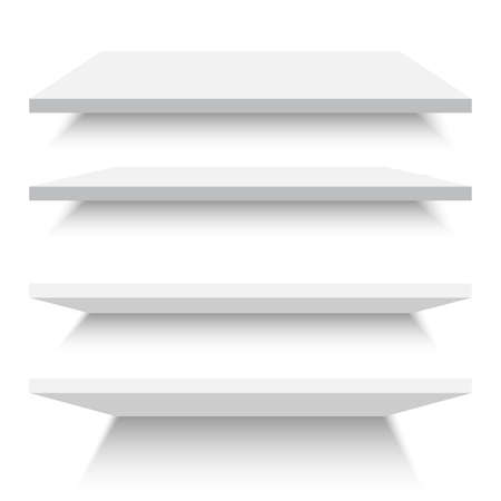 Empty white shelves isolated against a wall