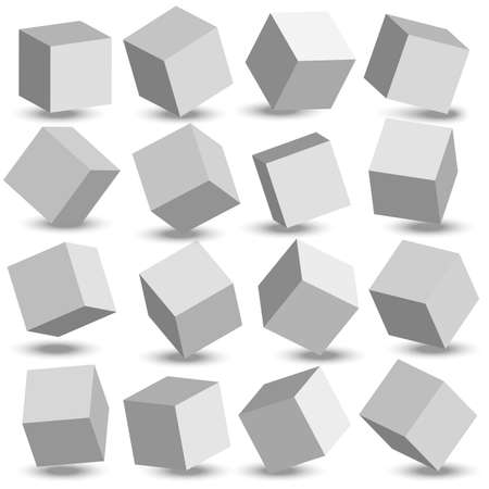 3d modeling white cubes. White cubes. Vector.
