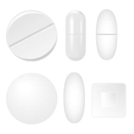 Set of 3d realistic white medical pills, capsules. Vector. Stockfoto - 150931414