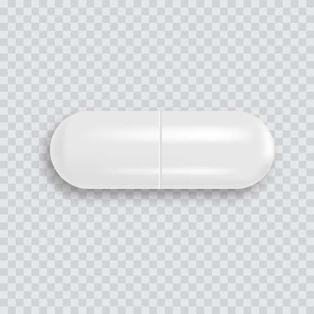 Realistic 3d white medical pill with soft shadow. Vector. 일러스트