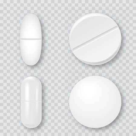 Set of 3d realistic white medical pills, capsules. Vector. Stockfoto - 150931585