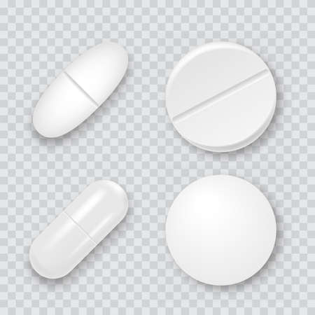 Set of 3d realistic white medical pills, capsules. Vector. Stockfoto - 150932118