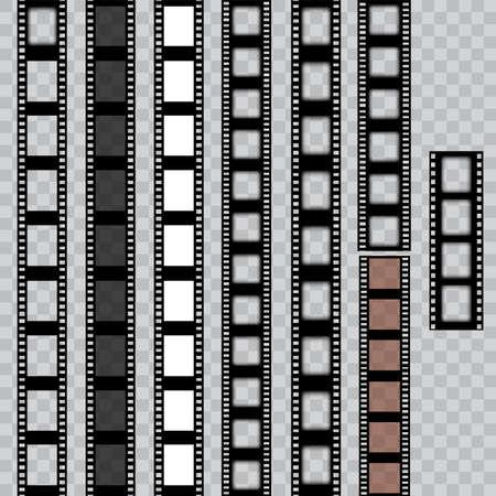 Set of worn torn film strips. Cinema frame. Vector.