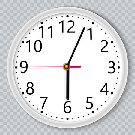 White wall office clock on transparent background. Vector. Иллюстрация