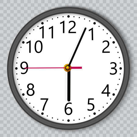 Black wall office clock on transparent background. Vector.