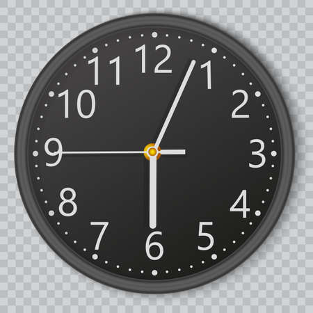 Black wall office clock on transparent background. Vector. Stockfoto - 151401715