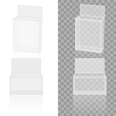 Realistic transparency white paper or plastic packaging box. Vector Stockfoto - 151474625