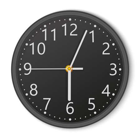 Realistic black round wall clock. Vector.