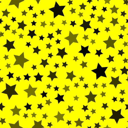 Seamless pattern with black stars on yellow background. Vector Banco de Imagens - 152923717