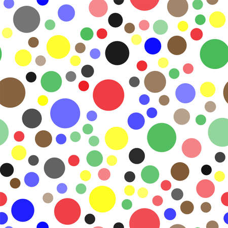 Seamless pattern with colorful circles on white background. Vector Banco de Imagens - 152923727