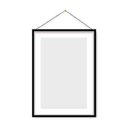 Realistic black photo frame hanging on the wall. Vector Banco de Imagens - 153140954