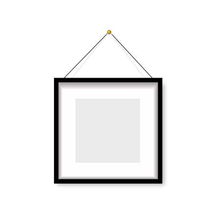 Realistic black photo frame hanging on the wall. Vector Banco de Imagens - 153141138
