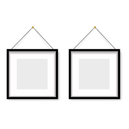 Realistic black photo frame hanging on the wall. Vector Banco de Imagens - 153141064