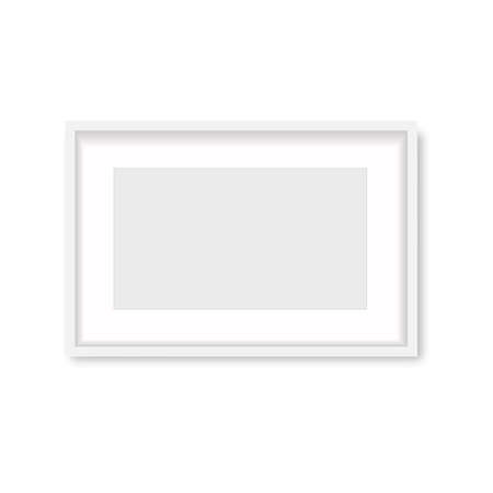 Realistic white wooden photo frame with soft shadow. Vector. Banco de Imagens - 153141082