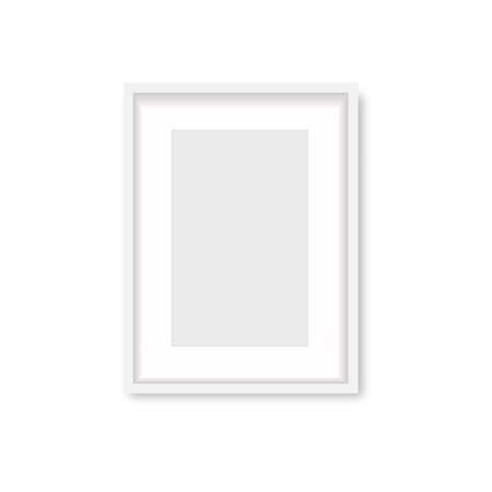 Realistic white wooden photo frame with soft shadow. Vector. Banco de Imagens - 153141406