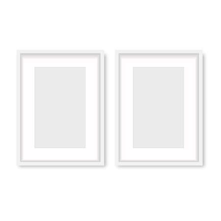 Realistic white wooden photo frame with soft shadow. Vector. Banco de Imagens - 153141184