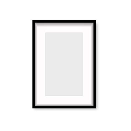 Realistic black wooden photo frame with soft shadow. Vector