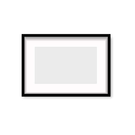 Realistic black wooden photo frame with soft shadow. Vector Banco de Imagens - 153141042
