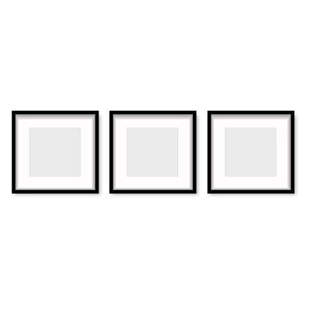 Set of black wooden photo frames with soft shadow. Vector.