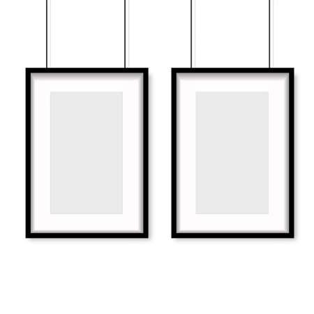 Realistic black wooden photo frame hanging on white background. Vector Ilustração