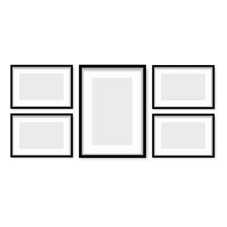 Set of black wooden photo frames with soft shadow. Vector. Banco de Imagens - 153141451