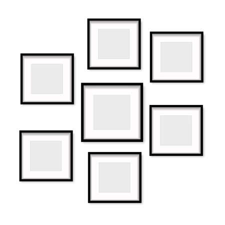 Set of black wooden photo frames with soft shadow. Vector. Banco de Imagens - 153141323