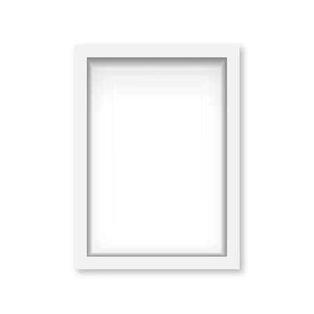 Realistic white wooden photo frame with soft shadow. Vector Banco de Imagens - 153141927