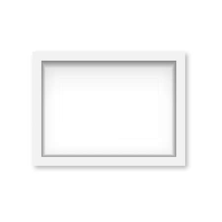 Realistic white wooden photo frame with soft shadow. Vector Banco de Imagens - 153141914