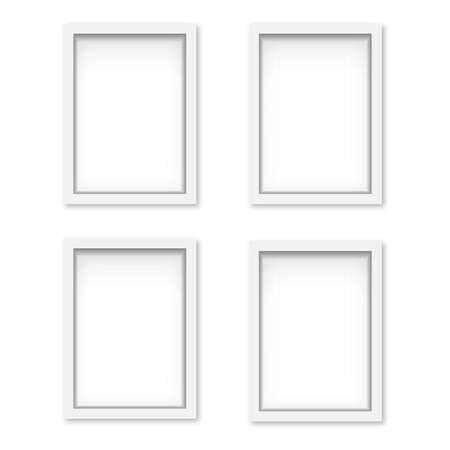 Set of white wooden photo frames with soft shadow. Vector Banco de Imagens - 153142019