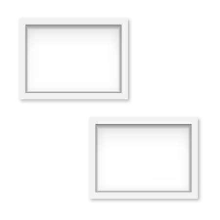 Set of white wooden photo frames with soft shadow. Vector Ilustração